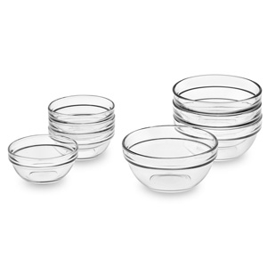 Glass Prep Bowls $32 - Williams-Sonoma Eight glass bowls in two handy sizes for fast and flawless execution of any recipe.