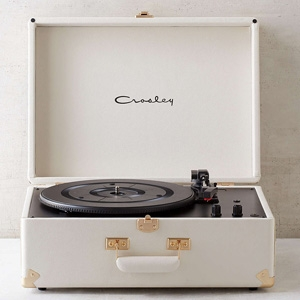 Crosley X UO AV Room White Portable USB Vinyl Record Player, $169, from Urban Outfitters.