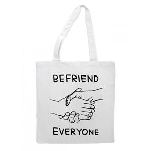 David Shrigley's 'Befriend Everyone' tote for Belle and Sebastian, £10, from the Belle and Sebastian Shop.