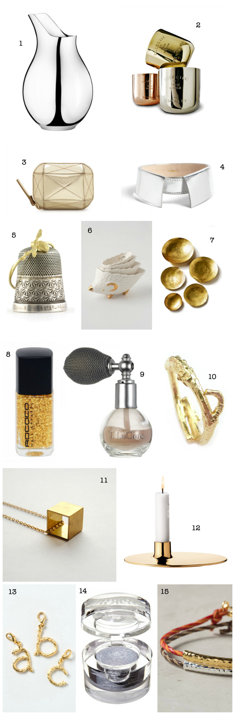 Christmas Gift Guide: Silver and Gold via WeeBirdy.com