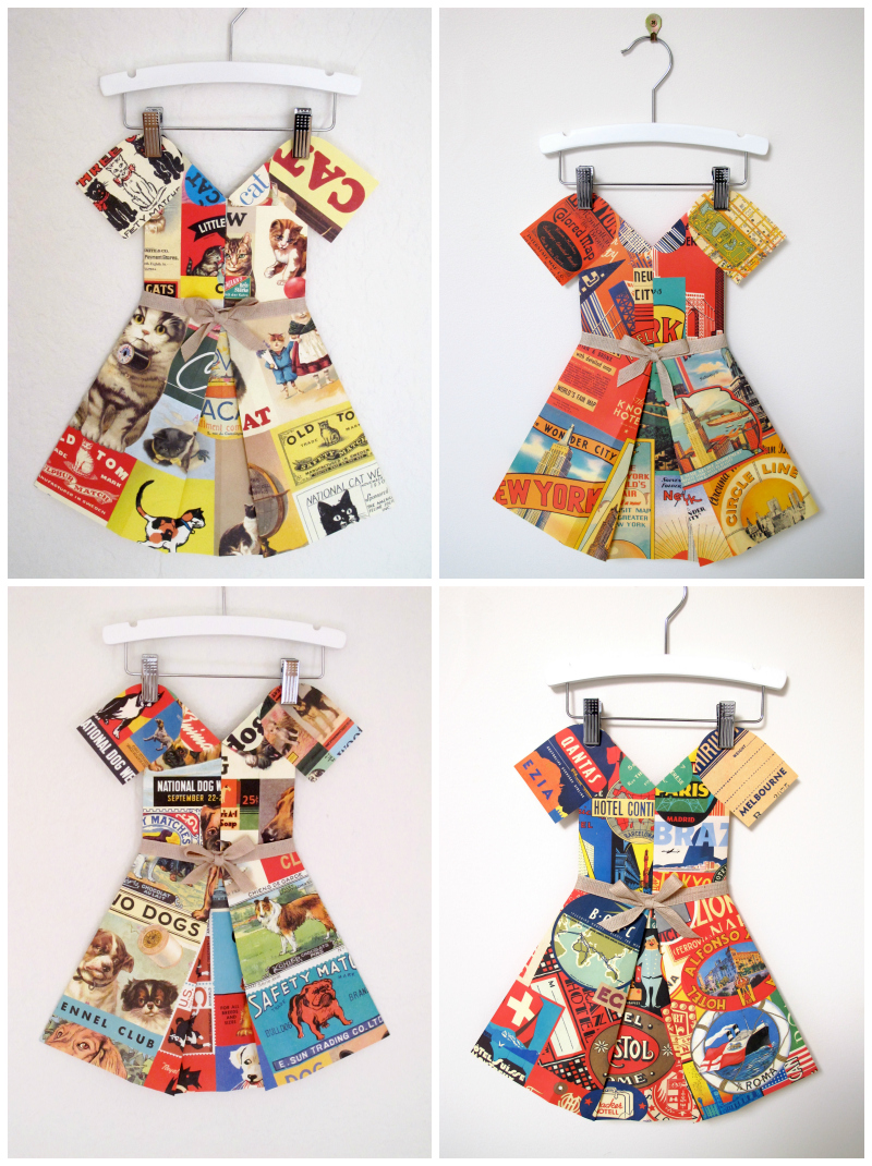Marcelle Crosby folded paper frocks via WeeBirdy.com