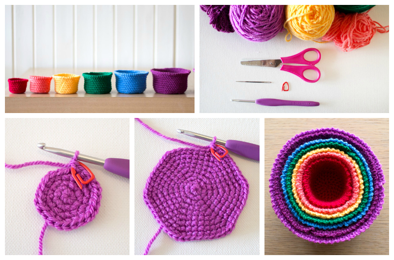 Crochet Rainbow Nesting Baskets Tutorial via Craft.tutsplus.com
