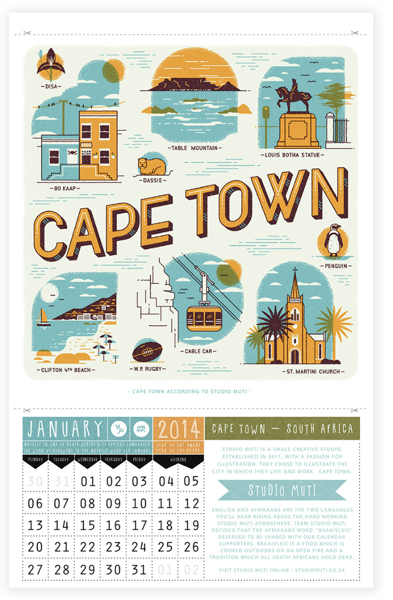 Capetown from Ask Alice Calendar 2014-Jan