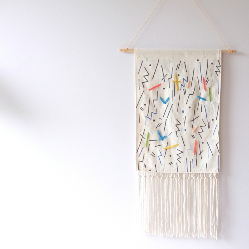 Memphis stick wallhanging by Stampel via Wee Birdy