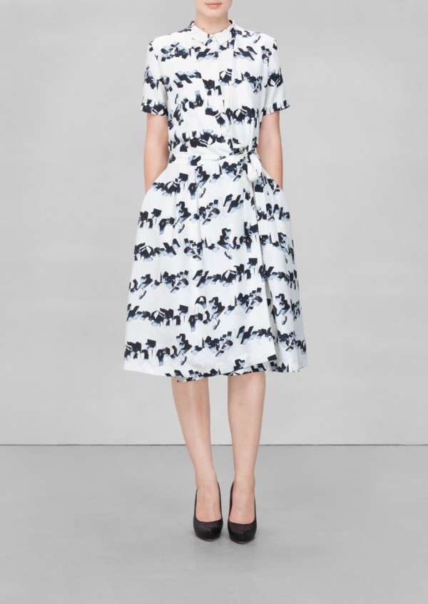 A-line silk dress in white print, £95 from & OTHER STORIES, via WeeBirdy.com