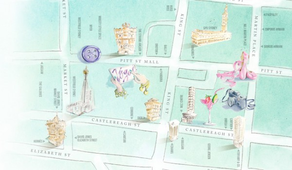 Map of Vogue Fashion's Night Out Sydney