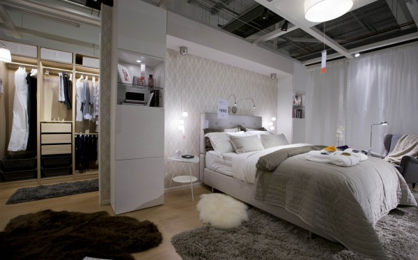 The 'Modern Elegance' bedroom at Airbnb at IKEA, via WeeBirdy.com.