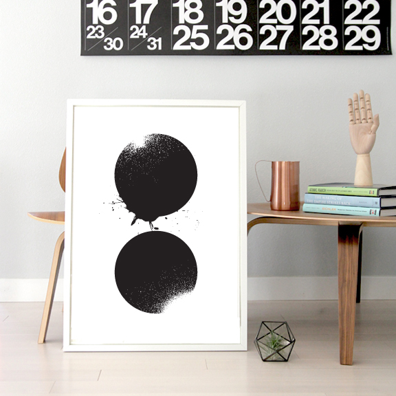 """Two Circles"" Screen Print by Tracie Yau, US$30, from GREAT.LY, via WeeBirdy.com."