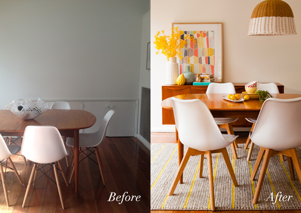 Before and after: Wee Birdy's dining room makeover, via WeeBirdy.com.