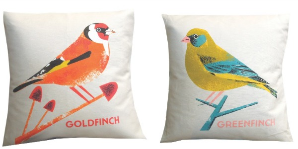 Chris Andrews British Bird cushions from The Shop Floor Project, via WeeBirdy.com.