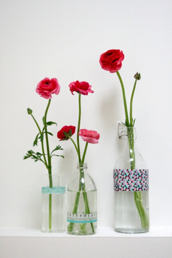 How to decorate with spring blooms and Typo tape, via WeeBirdy.com.