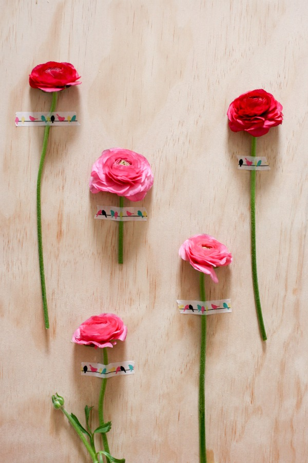 Decorate your walls for a party using single fresh blooms and Typo tape, via WeeBirdy.com