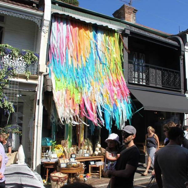 2. ilikebirdspaddington. A sweet little shop of vintage treasures in Paddington, Sydney. This amazing cascading ribbon curtain was created for them by Boy and Bird for the William Street Festival, 2014.
