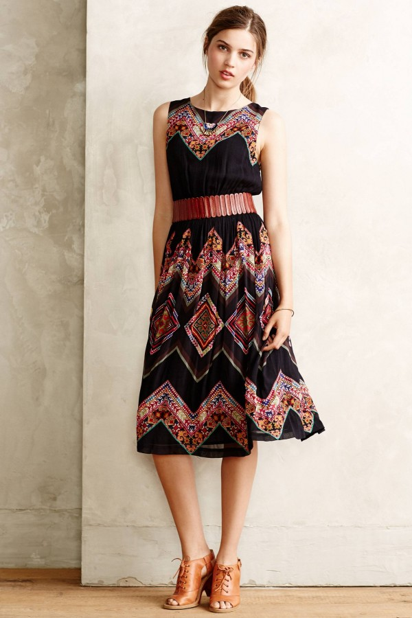 Frock on Friday: Patchworked Chevron Midi Dress from Anthropologie, via WeeBirdy.com.
