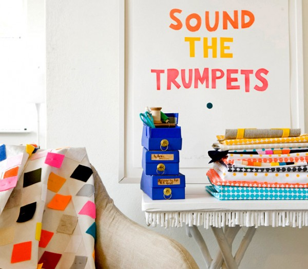 Castle's 'Sound the Trumpets' and trademark spotty bright bed linen, via WeeBirdy.com