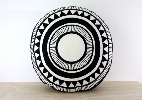 Etsy Design Award Finalist Highlights: Santa Monica round cushion by Bubbles at the head via WeeBirdy.com.