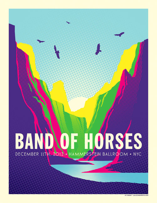 BAND OF HORSES 12.11.12 • Hammerstein Ballroom Artwork by Kii Arens Fluorescent Lithograph w/ Screen Printed Varnish Signed / Numbered Series of 100 $40 each via WeeBirdy.com.