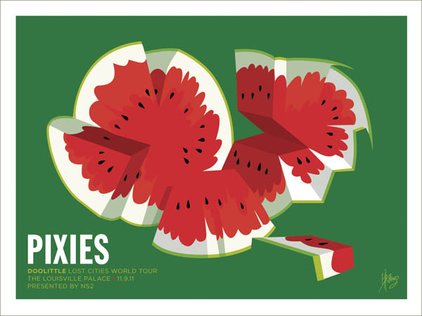 """PIXIES Nov. 9th, 2011 • Louisville Palace Design by Kii Arens 24"""" x 18"""" Matte Lithograph Signed / Numbered Series of 150, $35, via WeeBirdy.com."""