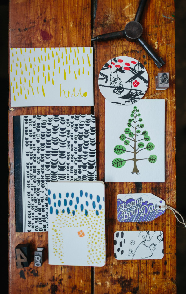 Some of Olive and the Volcano's handmade paper goods.