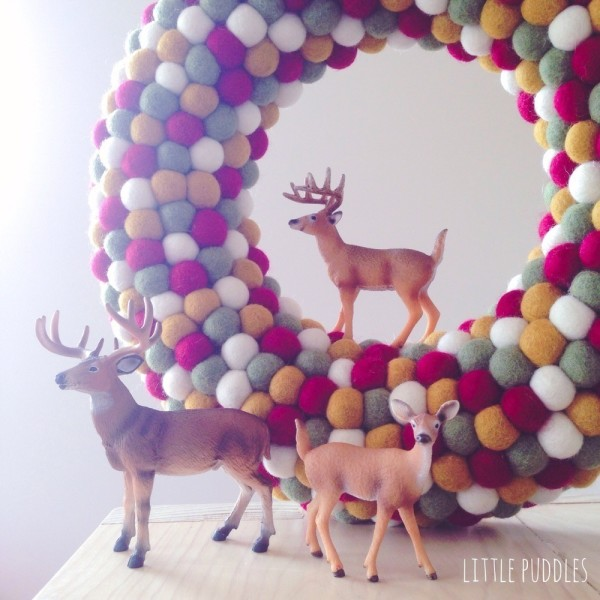 """Large feltball wreath in """"Christmas Classic"""", AU$115, from Down That Little Lane. Photography courtesy of Little Puddles."""