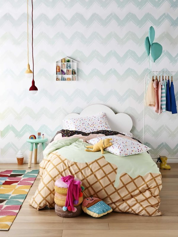 Shop the Ice Cream Trend for Christmas: Sunday Sundae reversible quilt cover, from $149, by Sack Me.