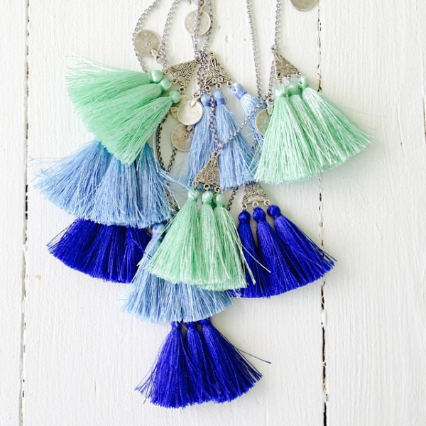 "Isle and Tribe is making these ""bohemian silky 'Cascade' necklaces in the most glorious Summer shades""."