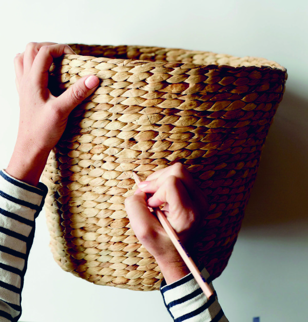 Use a pencil to draw your design onto the basket. From 'Make & Do' by Beci Orpin, via WeeBirdy.com.