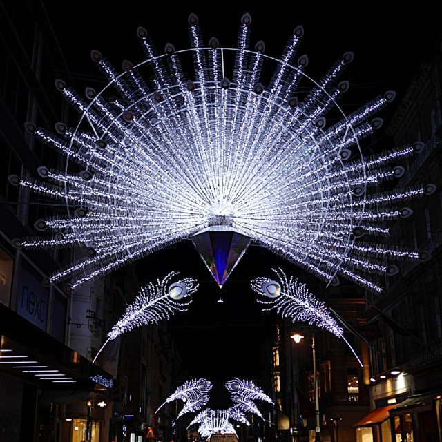 "Christmas Lights in London 2014: New Bond Street's peacock theme, via  WeeBirdy.com. "" - Wee Birdy The Insider's Guide To Shopping, Design, Interiors"