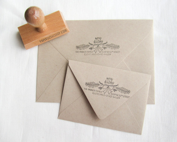 Christmas personalized address stamp, AU$44.87, from Paper Sushi's Etsy shop, via WeeBirdy.com.