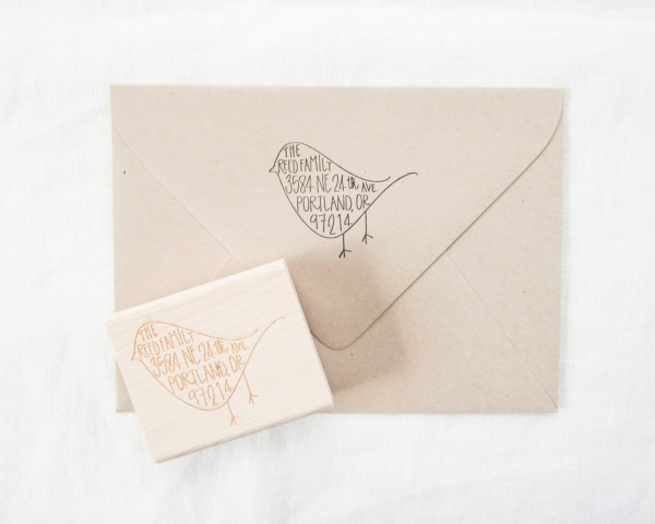 Custom address bird stamp with hand-lettered calligraphy, AU$64.94 from Paper Sushi's Etsy shop, via WeeBirdy.com.