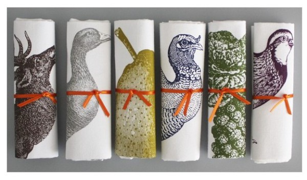 Box of 6 Stag & Spot luxury crackers, £55, from Thornback & Peel. Each cracker contains  a hat, snap, joke and a hand-printed festive Thornback & Peel handkerchief. Designs include Turkey, Partridge, Robin, Sprout Stick, Stag and Pear. Jolly good.