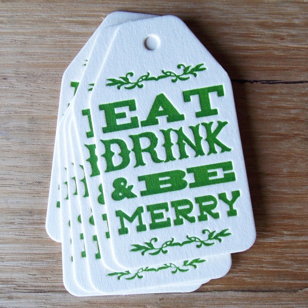 Letterpress Christmas gift tag , AU$2, by Olive and the Volcano, via WeeBirdy.com..