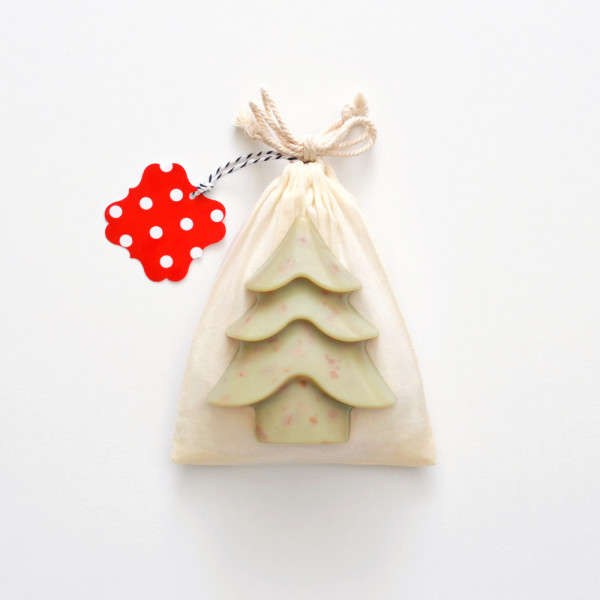 Limited edition Christmas tree soap (fig, grapefruit & lavender) in cotton pouch, AU$14.50, by Vice and Velvet, via WeeBirdy.com.