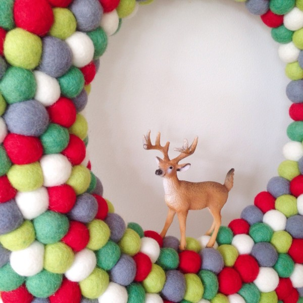"""Oh deer! Extra-large feltball wreath and garland in """"Christmas"""", AU$125, from Down That Little Lane."""