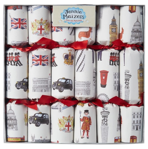 Wee Birdy's round-up of the best crackers for Christmas 2014: Iconic London Crackers with London patches by Jenny Maizels.