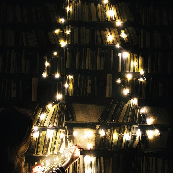 Clever idea: if you're short on space for a Christmas tree this year, create an outline using these new copper wire string lights from Lark, via WeeBirdy.com.