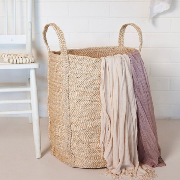 Southwood Home's handwoven jute laundry basket.