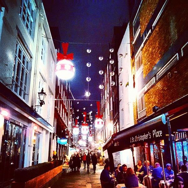 Christmas Lights in London 2014: St Christopher's Place, via WeeBirdy.com.