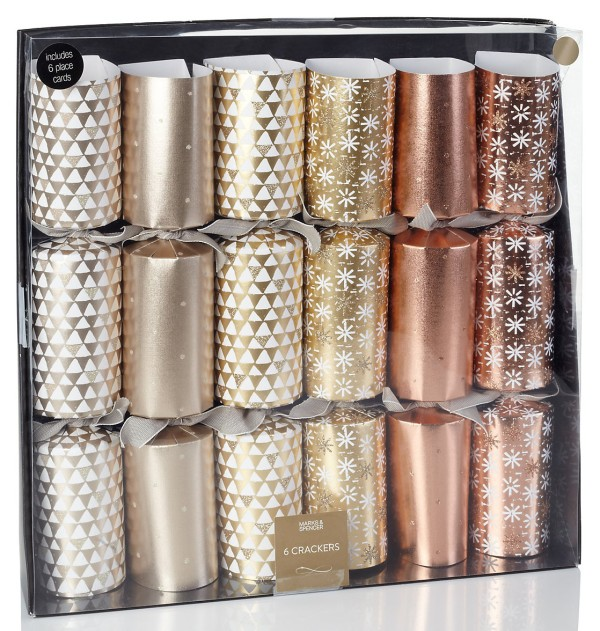 Wee Birdy's round-up of the best crackers for Christmas 2014: Gold, Silver and Copper Christmas Cracker Set from M&S.