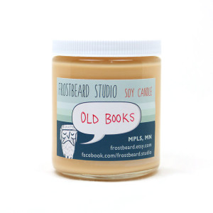 25 Excellent Presents for Book Lovers, via WeeBirdy.com: 'Old Books' scented soy candle, AU$17.62, from Frostbeard's Etsy shop.