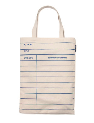 25 Excellent Presents for Book Lovers, via WeeBirdy.com: Library Card tote bag, $16, from Out of Print Clothing.