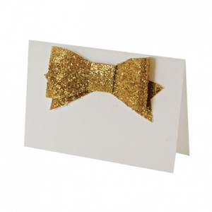 Glitter bow place cards, $22.99, from Lark.