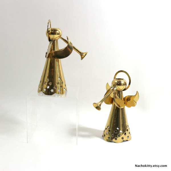 1950s vintage angel candleholders, $71.77, from Nacho Kitty's Etsy shop.