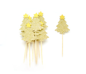 12 gold glitter Christmas tree cupcake toppers, $8.72 by Pelemele.