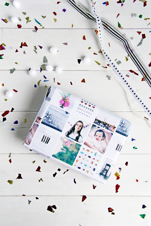 DIY: 5 Gorgeous New Christmas Crafts to Make: Customised Christmas gift wrap with Instagram photos, by Fall for DIY.