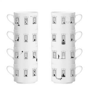 The Tiny Collection - Stacked apartment coffee cups, $120, from Everything Begins.
