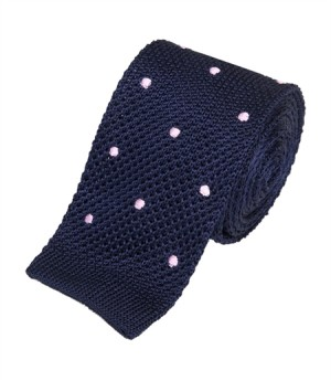 Men's navy pink spot silk knitted tie, $70, from Hawes & Curtis.