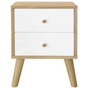 Oslo two-drawer bedside table in oak/white, $349, from Freedom.