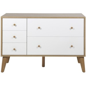 Oslo five drawer dresser in oak/white, $899, from Freedom.