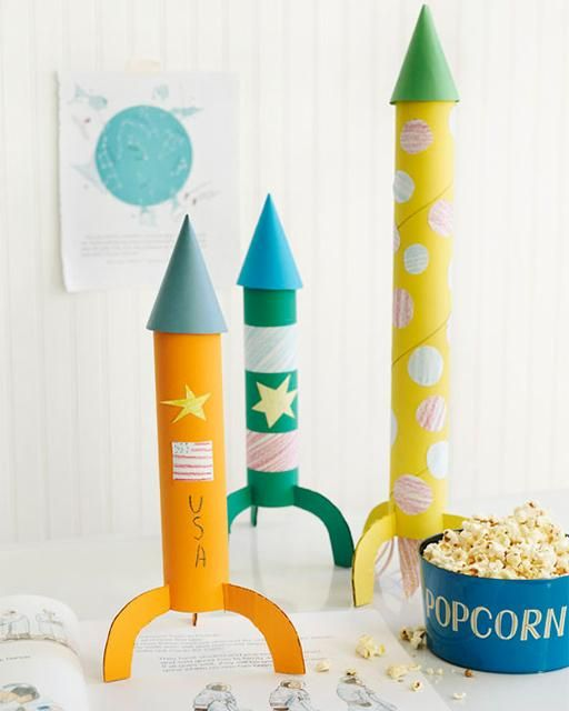 The best craft projects to make with kids, via We-Are-Scout.com: cardboard tube rockets.